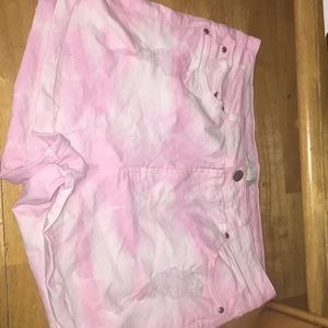 Forever 21 tie dye white and pink shorts